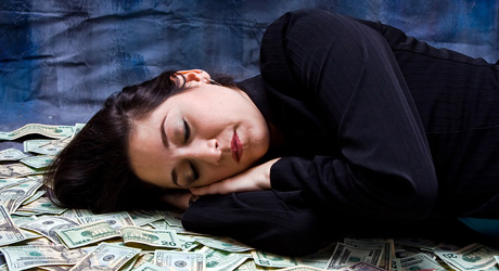 woman-sleeping-money